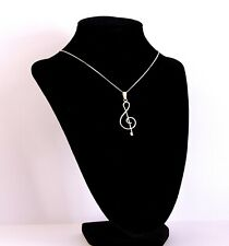 Vintage sterling Silver 925 Treble Clef Pendant Necklace with Chain