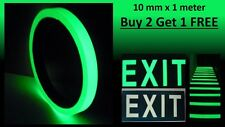 Glow In The Dark Tape Photoluminescent Egress Multi-purpose Tape 10 mm x 1 meter