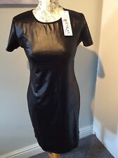 Leather  pvc Look Black Stretch Sexy Bodycon Dress L 12 Bnwt clubwear