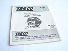 Zebco Model 202 ZeeBee Spincast Fishing Reel Owners Instruction Manual