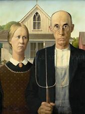 Grant Wood American Gothic Art Picture Canvas Art Print