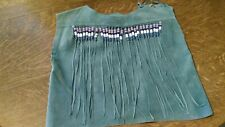 Suede Leather Vest With Beads - Homemade - Mint Green - Beads on Front and Back