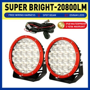 7 inch RED Round Spotlights LED Driving Work Lights OSRAM Spot Flood Lamps Truck