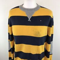 Childs Tommy Hilfiger Jumper Striped Print Yellow Blue Grey Age 16/18 Sz Large