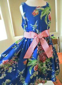 POLO Ralph Lauren Blue/Pink Floral/Bird Fit & Flare Dress, Pockets, Belt, 4, EUC