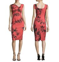 Black Halo Classic Jackie O Belted Red Floral Print Women Cocktail Party Dress