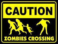 La prudence zombies crossing autocollant (the walking dead world war z 28 jours plus tard)