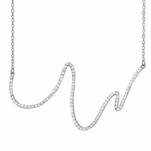 14K WHITE GOLD OVER 925 STERLING SILVER WAVE DESIGN NECKLACE W/ LAB DIAMONDS