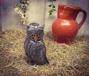 Home or Garden Hand Made Crafted Metal Silver/Gold Tealight Country Farm Owl