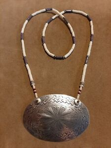 "Silver ""Sachem"" Gorget & Wampum Bead Necklace, Longhunter, Eastern Woodlands!!"
