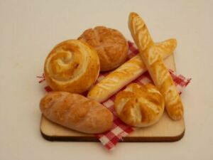 Dolls house food: Assorted breads board  -By Fran