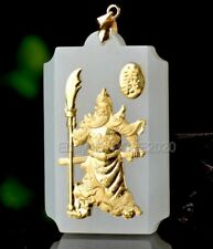 18K Gold Inlaid Natural HeTian Jade Carved GuanGong Pendant Necklace Certified