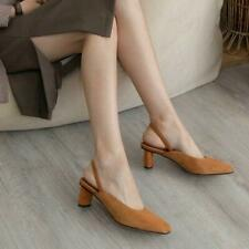 Womens Ladies Fashion Suede Leather Square Toe Block Heel Slingback Court Shoes