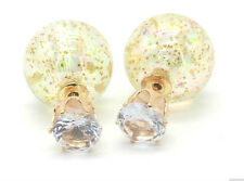 NEW DOUBLE PEARL GOLD GLITTER SPARKLE BALL BEAD CRYSTAL STUD EARRINGS