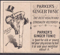 Parkers Ginger Tonic Kidney Cure With & Without Novelty old Victorian Trade Card