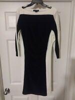 EUC Women's LAUREN RALPH LAUREN  Dress Black White 3/4 Sleeve GORGEOUS Size 12