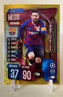 2019-20 Lionel Messi Hat Trick Hero Topps Match Attax Card Gold Ice SP Parallel