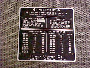 Buick Patent Plate 1909 - 1926 acid etched aluminum