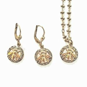 New Catherine Popesco Gold Swarovski Crystal BEE  Earrings & Necklace Set Gift
