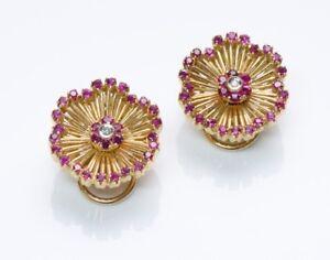 Vintage Ruby Diamond 18K Yellow Gold Floral Earrings