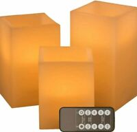 LED Lights Square Flameless Realistic Flickering Candles in Amber