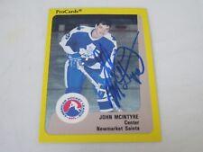JOHN MCINTYRE AUTOGRAPHED 1989 AHL PROCARDS CARD-NEWMARKET SAINTS
