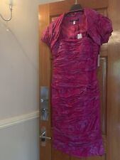NEW VENI INFANTINO MOTHER OF THE BRIDE ROSE PINK RUCHED DRESS /& BOLERO JACKET