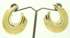 14K Yellow Gold 3/4 Hoop Step Style Earrings 39x32mm 10.8 Grams M1384