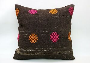 Kilim Square Pillow, 24x24 in, Decorative Sofa Cushion, Handmade Vintage Pillow