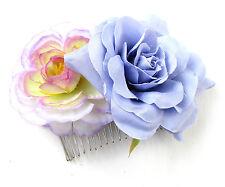 Purple Lilac Rose Camellia Flower Hair Comb Vintage Bridesmaid Clip Bridal X-13