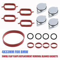 6x 33mm Diesel Swirl Flap Blanks Bungs Intake Manifold Gaskets for BMW 730d D3X5