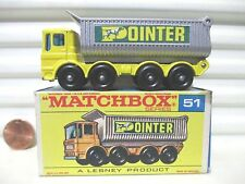 Lesney Matchbox 1969 RW51C Yellow POINTER 8 Wheel Tipper Silver Grille BPW MIB