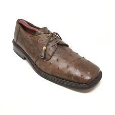 Men's David Eden Oxfords Dress Shoes Size 9M Brown Full Genuine Ostrich Quill N2