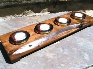 wood candle holder, 4 amber glass votives with candles Handmade USA 0357