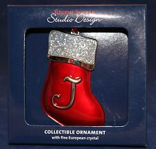 "LETTER ""J"" SANTA STOCKING CHRISTMAS ORNAMENT Regent Square Monogram Crystals NEW"