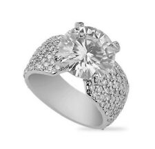 5.65 CT ROUND MOISSANITE FOREVER ONE GHI PAVE ENGAGEMENT RING