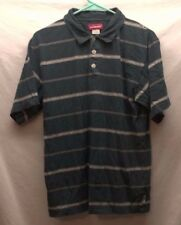 Men's Union Bay Large L Green Striped Polo Rugby Golf Shirt SS 100% Cotton EUC