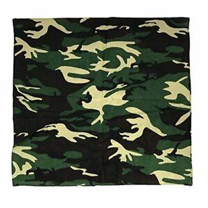 Allgala 12 Pack 100% Cotton Mask Towel Bandanas Head Band Scarf-Camouflage Green