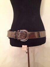 Burberry Leather Horseshoe Buckle Ladies Belt 40/100 Pewter Shiny New