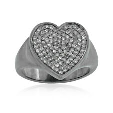 Beautiful Pave Set Diamond 925 Solid Silver Heart Ring Jewelry Size 7 RIMJ-279