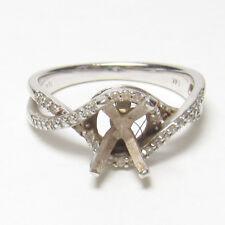 Estate 14K White Gold 44 Single Cut Diamond Semi Mount Ring 0.20 Cts