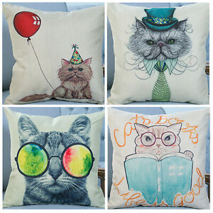 UK 4PCS 18'' Retro Vintage Cool Lovely Cat Linen Throw Pillow Case Cushion Cover