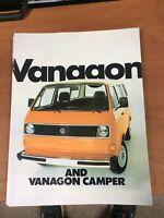 Volkswagon Vanagon and Camper VW 1982 Auto Dealer showroom Sales Brochure NOS