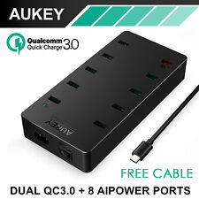 NEW Aukey QC3.0 10x USB Wall Charger Universal Multi-Port Phone Charging Station