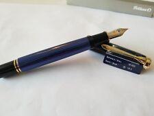 PELIKAN BRAND NEW!!! M800 BLACK/ BLUE 18K F-NIB 986 729