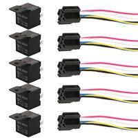 5 x 12V Car SPST Automotive Relay DC 5 Pin 4 Wires W/ Harness Socket 40 Amp QO