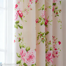 RED PINK ROSE FLORAL PENCIL PLEAT LINED COTTON CURTAINS 66 X 72 TO MATCH DUVET