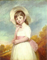 Nice Oil painting George Romney - Young girl Portrait of Miss Willoughby & hat