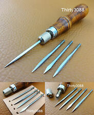 Leather Craft 4 in 1 Stitching  Lacing Fid Scratch Awl Tool Set  Hardwood Handle