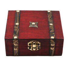 Vintage Wooden Storage Box Jewelry Wood Gift Case with Lock Home Decoration Z